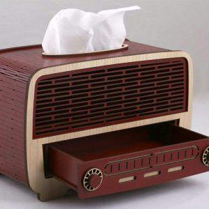 جا دستمال کاغذی چوبی طرح رادیو